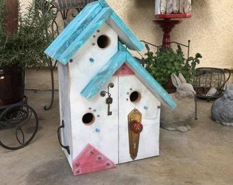 Cottage Birdhouse Condo Handcrafted Three Chamber Bird House, Blue & White, Unique Birds Farmhouse Post Mount Birdhouses, Item #492060760