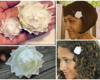 White Lotus, Water Lily Flower bobby pin, lotus barrette, small lotus, mini lotus, water lily barrette