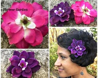 Purple, Fuchia, Pink Delphinium hair flower clip, realistic, hair barrette