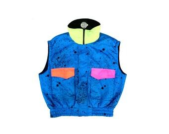 Bodacious 80s Neon Mistral Splatter Puffy Ski Vest - L / XL