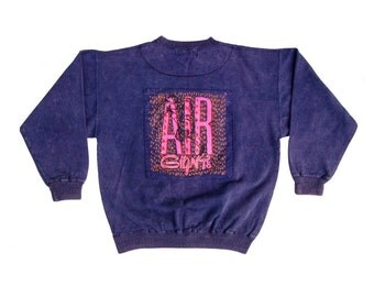 Deadstock 80s Neon Air Giants Acid Wash Heavy Wt. Snowboard Crewneck - L