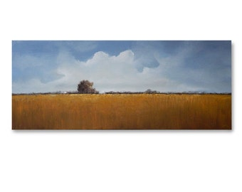 "LANDSCAPE PAINTING, Original Art, LARGE  16"" X 40""  ""October Sky"" Painted sides, Earth tones, Textured"