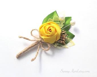 Yellow Green Boutonniere/ Summer Wedding Lapel Pin/ Handmade Wedding Accessory