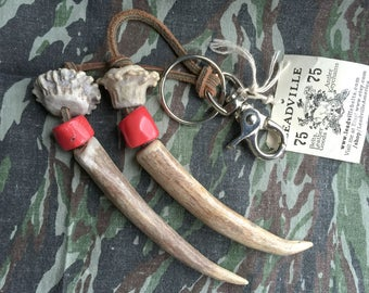 Custom Keychain / Deer Antler Keychain / Antler Tip Charm / Purse Accessories / Purse Charm / Hunting Keychain
