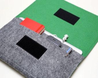 """Macbook AIR Case / 11"""" Macbook AIR Sleeve / 13"""" Macbook AIR Organizer Bag - Gray & Green - Weird.Old.Snail"""