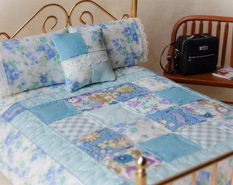 "Dollhouse Miniature Scale Quilt ""Eliza's Garden"" with 2 Matching Bed Pillows & Decorator Pillow - 1:12 Scale"