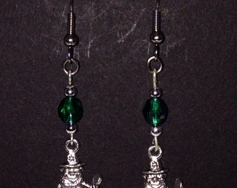 St. Patrick's Day Earrings, Leprechaun with iridescent green bead