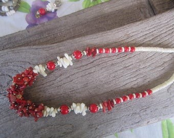 fancy red and white coral necklace, tropical necklace, Hawaiian jewelry, resort jewelry