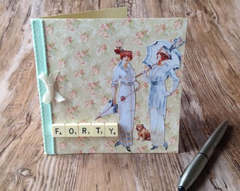 Unique handmade greetings card made with Upcycled materials