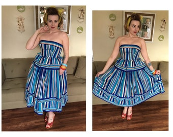 Victor Costa designer 50s new look style striped dress