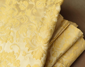 """Gold Brocade Curtain Panel, Pleated Drapes, Vintage Linens, 46"""" Long"""
