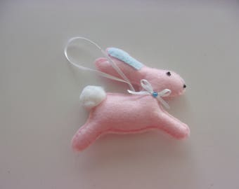 "Handmade Felt PINK BUNNY Ornament 4""h x 4""w"