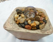 Stone Sculpture Flame Bowl, Handmade In USA, Free Shipping