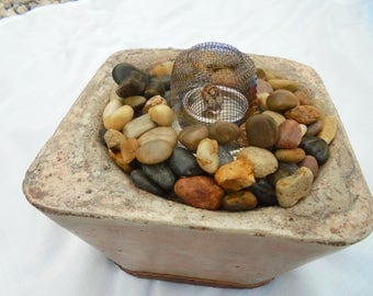 Stone Sculture Flame Bowl, Handmade In USA, Free Shipping