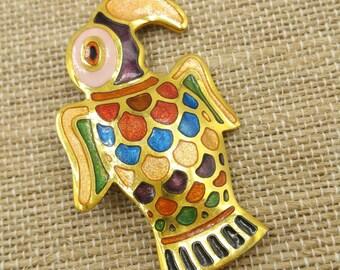 Multi Color Enamel Bird Brooch, Toucan Pin, Parrot Pin, Exotic Tropical Birds Brooches