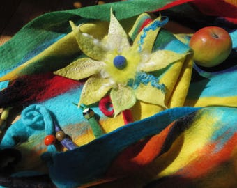 "Ocean breeze"" large lemon green/yellow brooch with fleece curls, one-of-a-kind wet felted art-to-wear accessory"