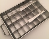 vintage ice cube tray/frigidaire aluminum quickube double tray with lid