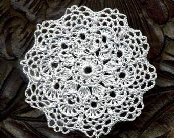 Dollhouse Miniature Doily Round Doily Crocheted Gray
