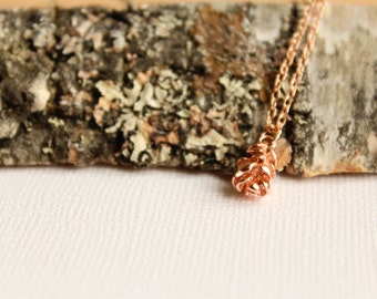 Pinecone Necklace, Available in Rose Gold, Silver, and Gold
