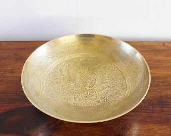 vintage solid brass etched footed bowl, made in India