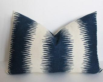 Blue white ikat stripe pillow cover, throw pillow, decorative pillow, sofa pillow, cushion cover, lumbar pillow, Premier Prints Jiri Navy
