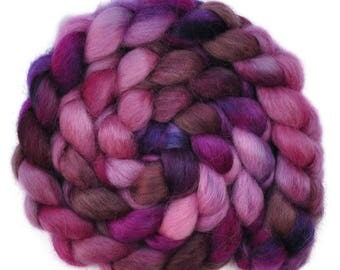 Hand painted spinning fiber - Wensleydale wool combed top roving - 4.1 ounces - Confusion of Dreams 2
