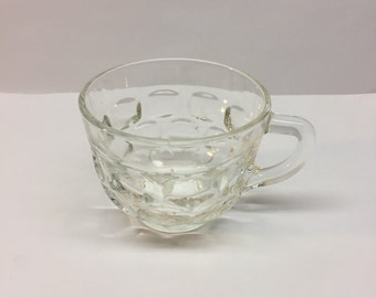 Punch bowl Cups Federal Glass Thumb Print Yorktown