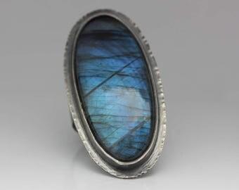 Labradorite Ring, Labradorite & Sterling Ring, Blue Flash Labradorite, Boho, Labradorite Statement Ring, Size 10