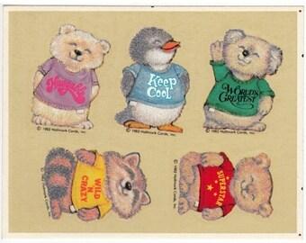ON SALE Rare Vintage Hallmark Fuzzy Shirt Tales Sticker Sheet - 80's Retro Cartoon Raccoon Koala Bear Penguin Gopher Flocked Scrapbook
