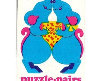SALE Rare Vintage Illuminations Puzzle Pairs Adorable Mice Sticker 1983 Mouse