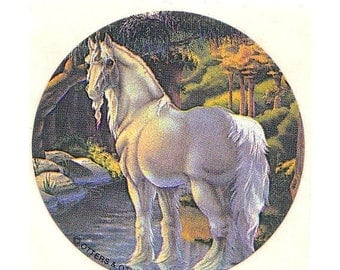 SALE Unicorn at a Wooded Stream Vintage Rare Otters and Others Sticker 1982
