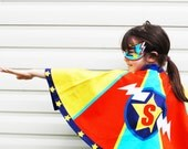 Personsalised Superhero Cape and mask set dress up set Superheroine