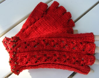red half fingered gloves with beaded wrist