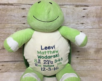 Birth Stat Stuffed Animal, Personalized Keepsake, Baby Gift, Personalized Turtle, Embroidered Turtle, Cubbie