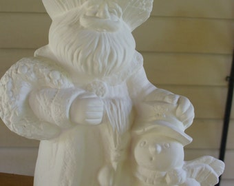 Ceramic Bisque Santa with Snowman