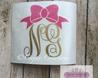 Monogram decal, car decal, two initial monogram, personalized decal, vehicle decal, bow decal, yeti decal, laptop decal, 2 letter monogram