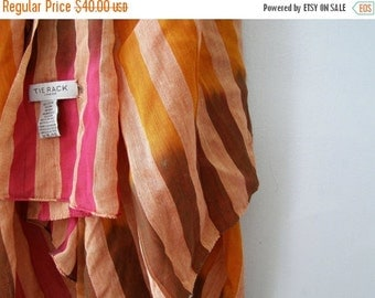 TIE RACK London Big Cotton Scarf Shawl, Pink Orange Brown Stripes Soft huge Neck warmer Head Hair wrap, Warm colors Oversized Fashion Scarf
