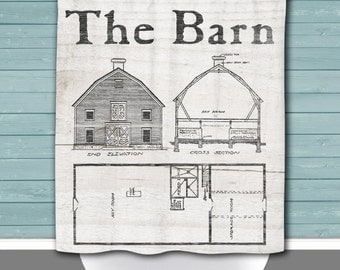 Barn Shower Curtain: Farm Life Rustic Americana Whitewash Wood Look | 12 Eyelets/Button Holes | Size and Pricing via Dropdown