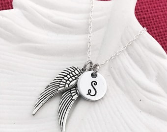 Monogram Wings Necklace -  Hand Stamped Necklace by Eight9Designs - Personalized Initial