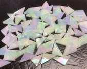 SPECIAL #2 LIMITED SUPPLY 50 White Iridized Triangles Mosaic Tiles T17
