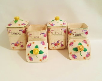 Antique  Kitchen Canister Set Floral Ceramic Canisters   1930 Rose Patterned 4 Piece Kitchen Counter Top Canister Oatmeal Sugar Flour Coffee