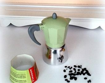 SANTA SALE Retro Typhoon Espresso Pot - 6 Cups - Polished Aluminum  - High Gloss Green Finish  - Like New