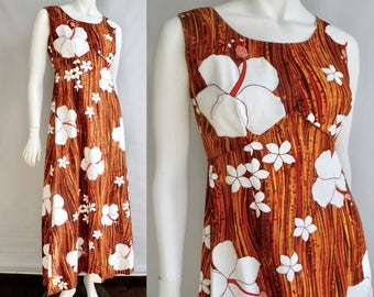 60s Brown and Orange Hawaiian Cotton Maxi Dress with White Hibiscus Flowers - S