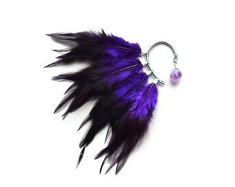 Feather Ear Cuff, Ear Cuff, Feather Ear Wrap, Feather Earrings, Amethyst, Festival Ear Cuff