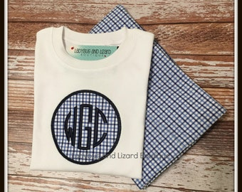 Boy's Circle Monogram Long Sleeve Top and Blue Plaid Pants Outfit Size 12M-18M, 2T-5T, 6