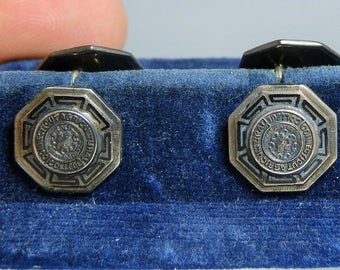 1930's Sterling Silver Connecticut Agricultural College Cuff Links Original Holder UConn Gift Idea DanPickedMinerals