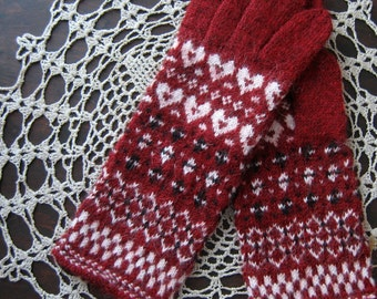 Patterned gloves. Hand knitted gloves. Red and white wool gloves. Hand knit gloves. Natural alpaca wool. Gift. Winter