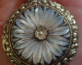 Large carved mother of Pearl Daisy Flower Pendant in Tibetan Silver