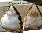 Vintage Abalone Dangle Earrings, Pierced Shell Posts