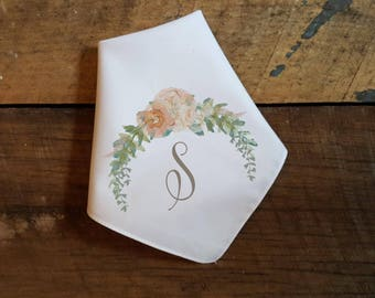 Printed Wedding Handkerchief with intital or monogram and pastel floral garland. mother of the bride. bridesmaids. mother of the groom